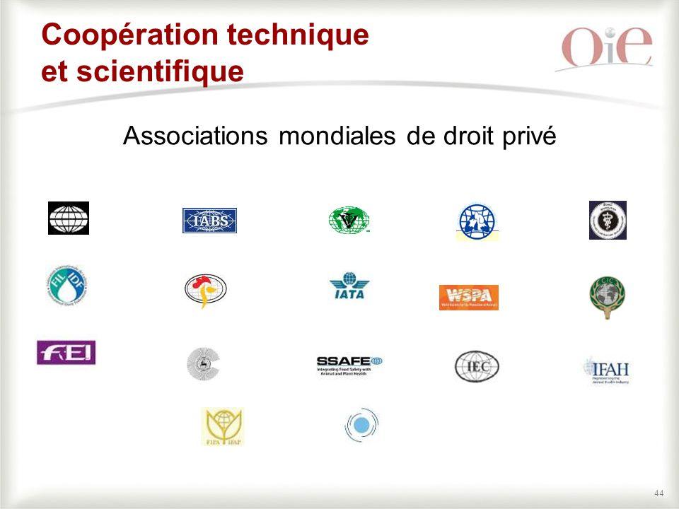 44 Coopération technique et scientifique Associations mondiales de droit privé