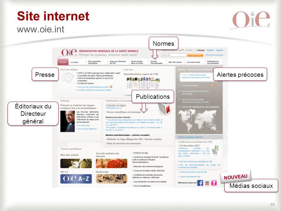68 Site internet www.oie.int Alertes précoces Presse Éditoriaux du Directeur général Médias sociaux NOUVEAU Normes Publications