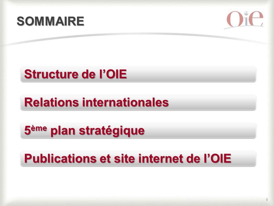 99 SOMMAIRE Structure de l'OIE Relations internationales 5 ème plan stratégique Publications et site internet de l'OIE