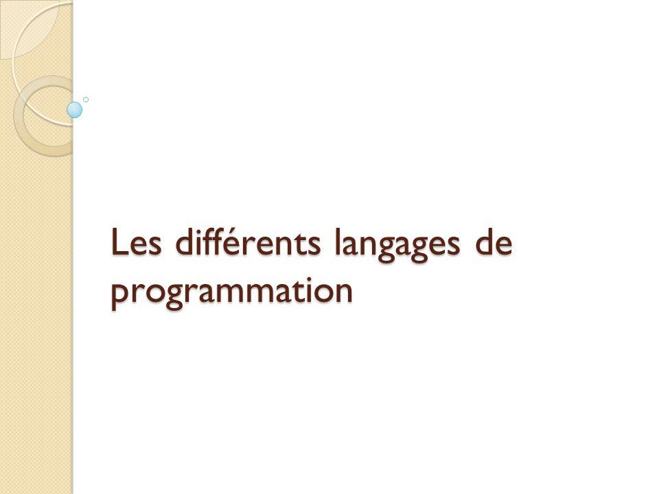 Les différents langages de programmation
