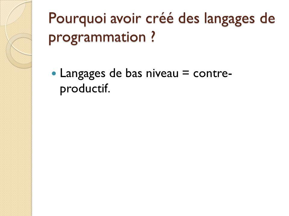 Pourquoi avoir créé des langages de programmation ? Langages de bas niveau = contre- productif.