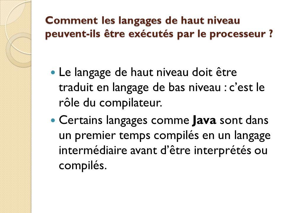 Comment les langages de haut niveau peuvent-ils être exécutés par le processeur ? Le langage de haut niveau doit être traduit en langage de bas niveau