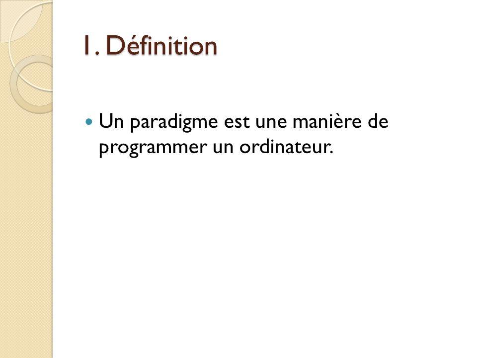 1. Définition Un paradigme est une manière de programmer un ordinateur.