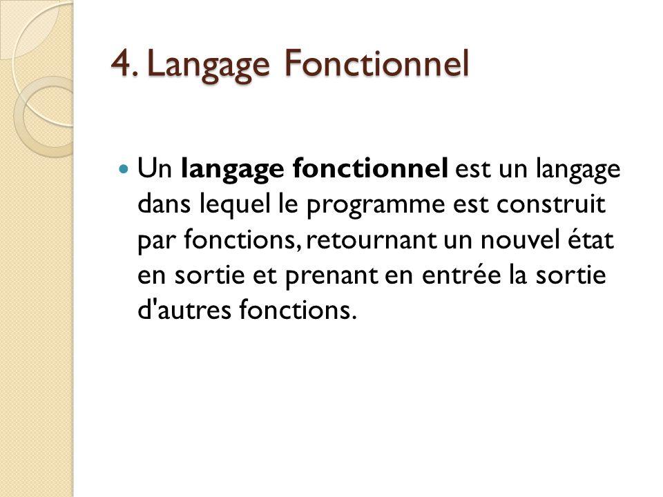 4. Langage Fonctionnel Un langage fonctionnel est un langage dans lequel le programme est construit par fonctions, retournant un nouvel état en sortie