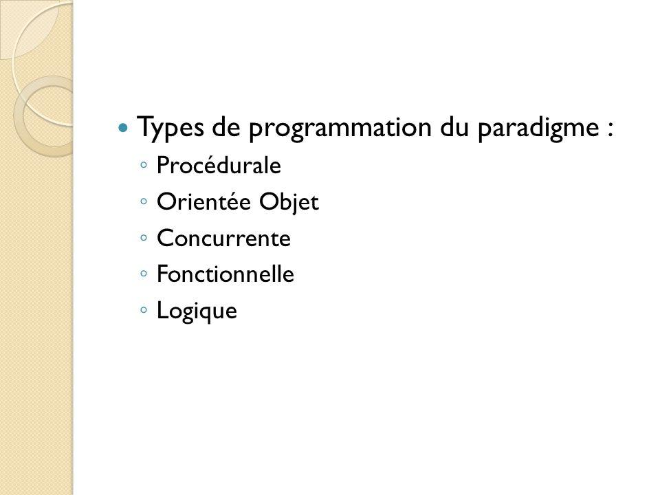 Types de programmation du paradigme : ◦ Procédurale ◦ Orientée Objet ◦ Concurrente ◦ Fonctionnelle ◦ Logique