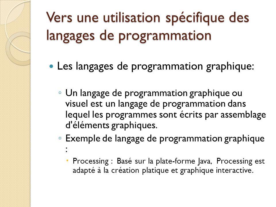 Vers une utilisation spécifique des langages de programmation Les langages de programmation graphique: ◦ Un langage de programmation graphique ou visu