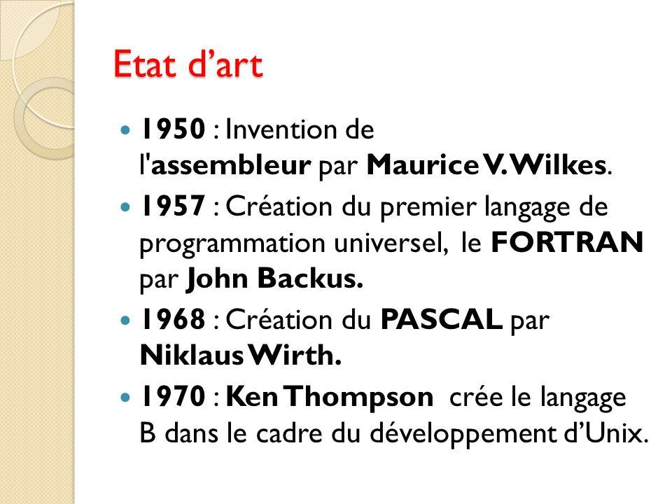 Etat d'art 1950 : Invention de l'assembleur par Maurice V. Wilkes. 1957 : Création du premier langage de programmation universel, le FORTRAN par John