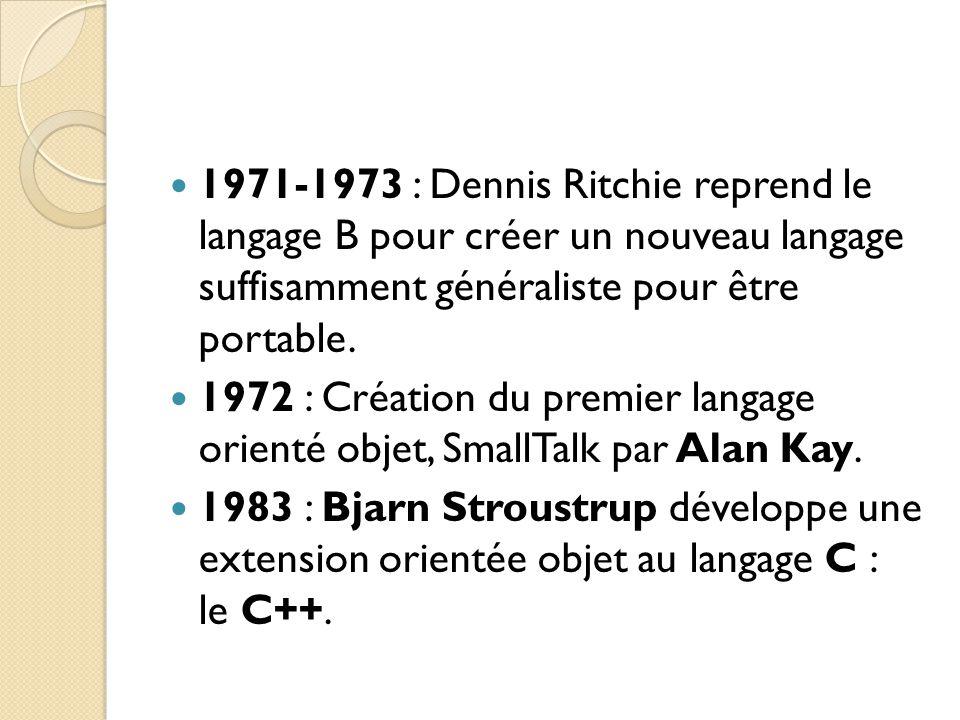 1971-1973 : Dennis Ritchie reprend le langage B pour créer un nouveau langage suffisamment généraliste pour être portable. 1972 : Création du premier