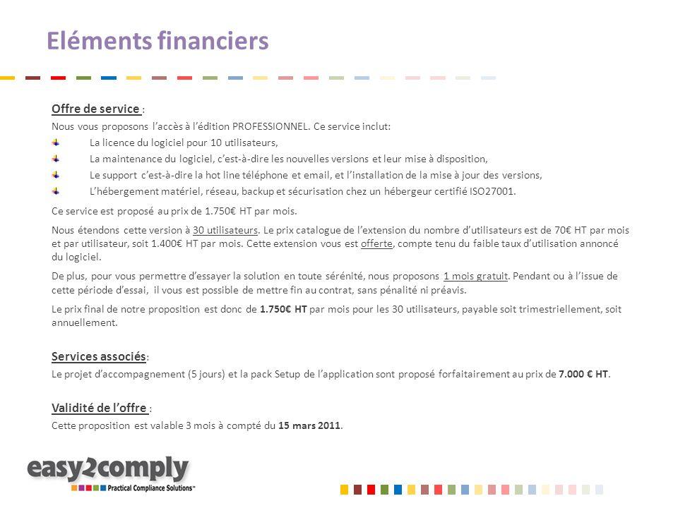 Eléments financiers Offre de service : Nous vous proposons l'accès à l'édition PROFESSIONNEL. Ce service inclut: La licence du logiciel pour 10 utilis