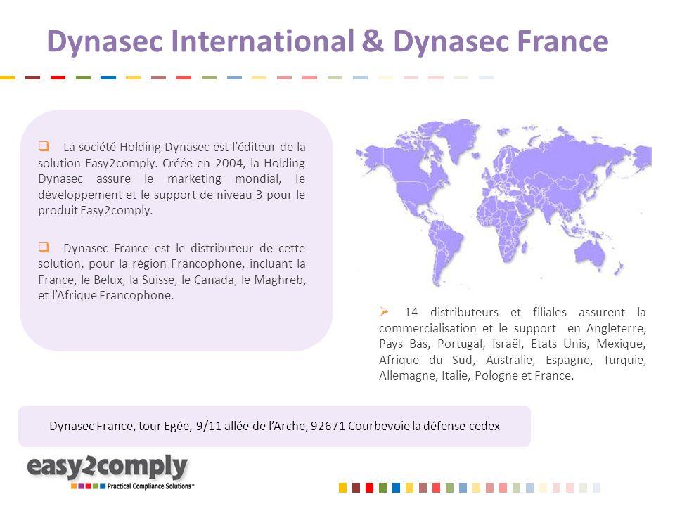 Dynasec International & Dynasec France  La société Holding Dynasec est l'éditeur de la solution Easy2comply. Créée en 2004, la Holding Dynasec assure