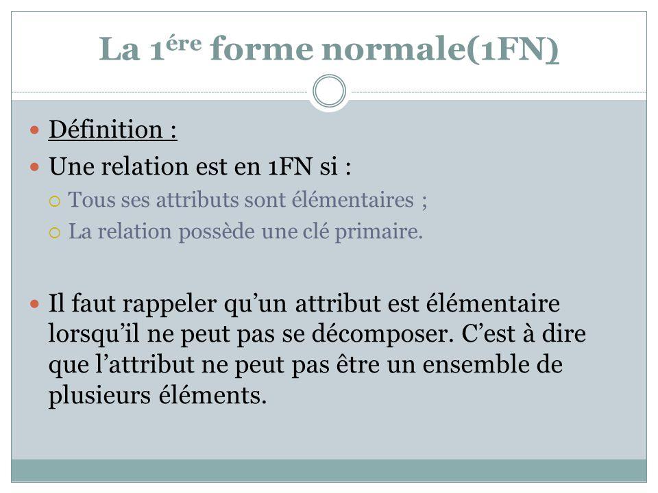 La 1 ére forme normale(1FN ) Définition : Une relation est en 1FN si :  Tous ses attributs sont élémentaires ;  La relation possède une clé primaire