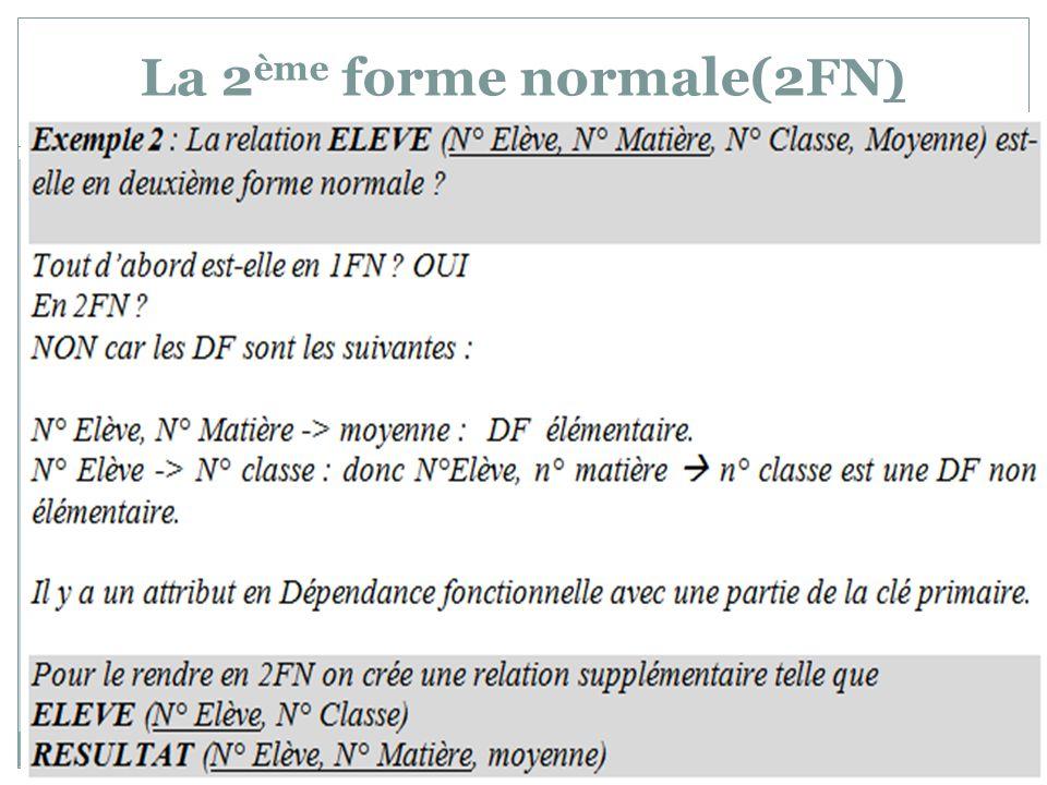 La 2 ème forme normale(2FN )