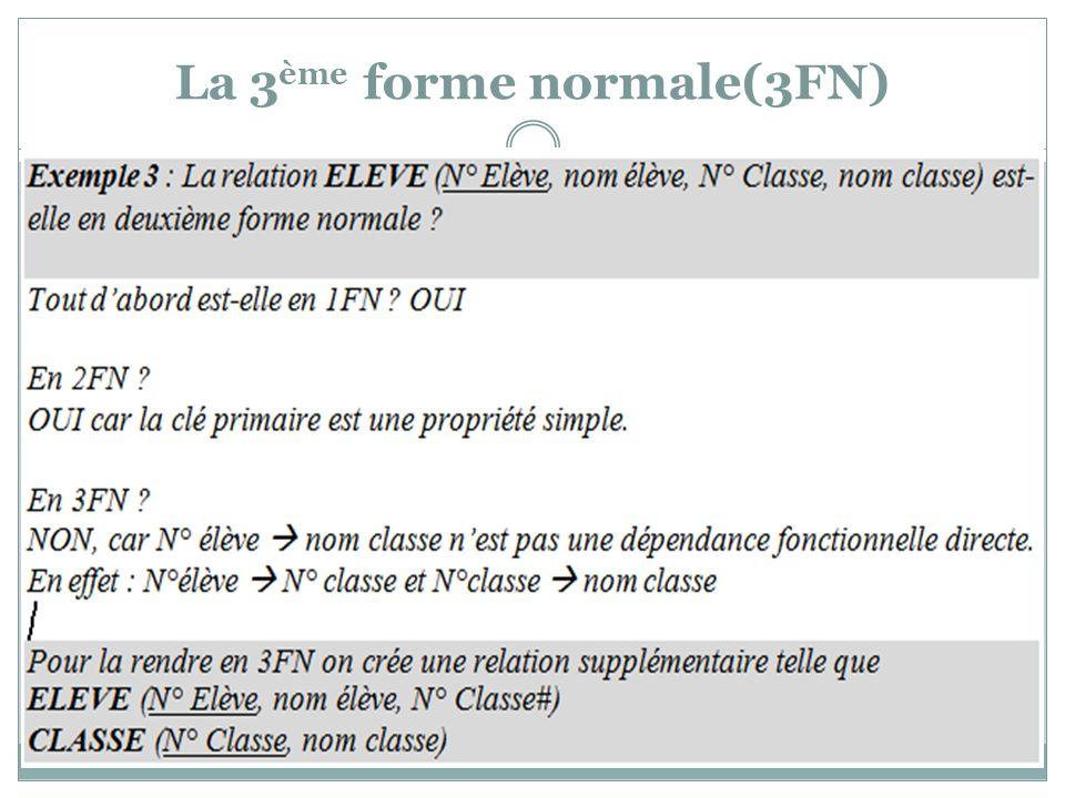 La 3 ème forme normale(3FN)