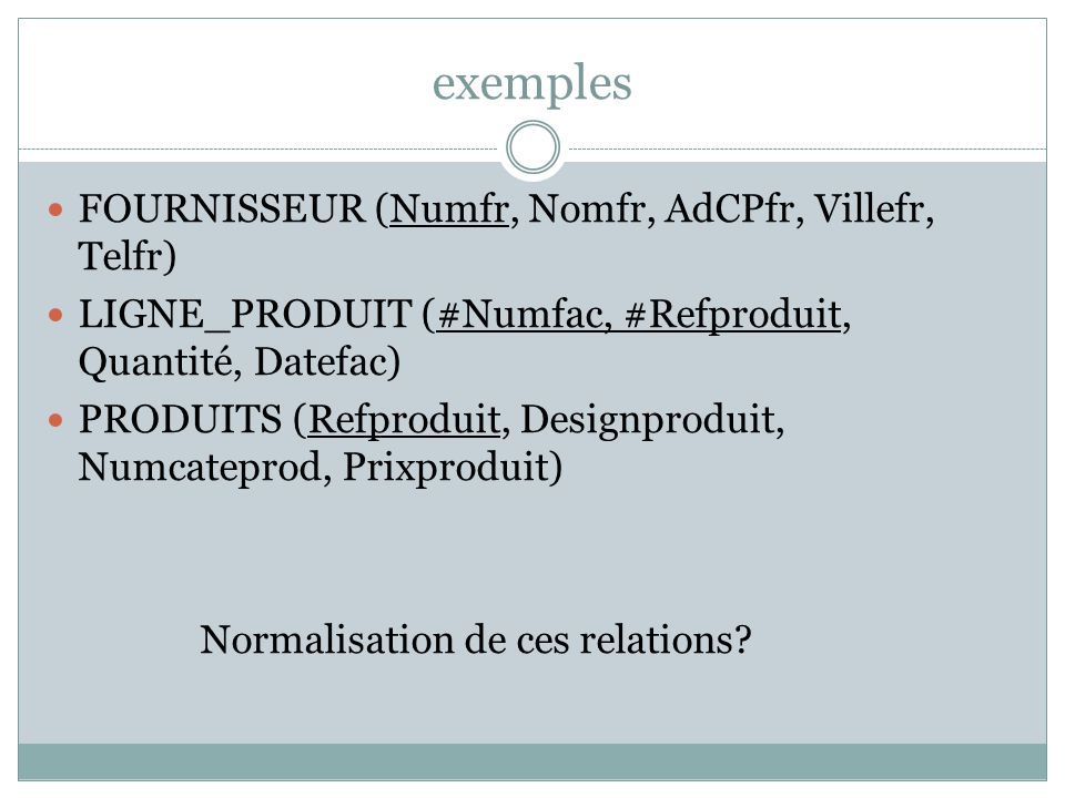 exemples FOURNISSEUR (Numfr, Nomfr, AdCPfr, Villefr, Telfr) LIGNE_PRODUIT (#Numfac, #Refproduit, Quantité, Datefac) PRODUITS (Refproduit, Designprodui