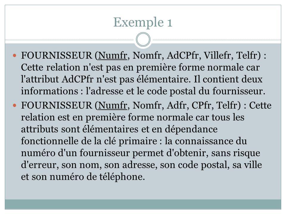 Exemple 1 FOURNISSEUR (Numfr, Nomfr, AdCPfr, Villefr, Telfr) : Cette relation n'est pas en première forme normale car l'attribut AdCPfr n'est pas élém