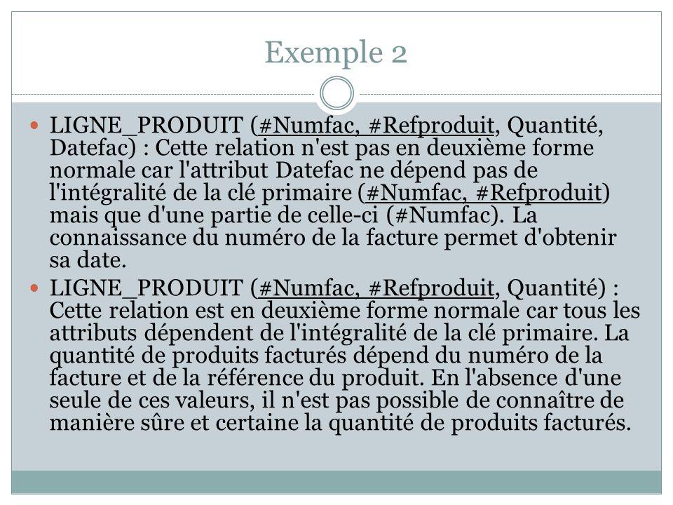 Exemple 2 LIGNE_PRODUIT (#Numfac, #Refproduit, Quantité, Datefac) : Cette relation n'est pas en deuxième forme normale car l'attribut Datefac ne dépen