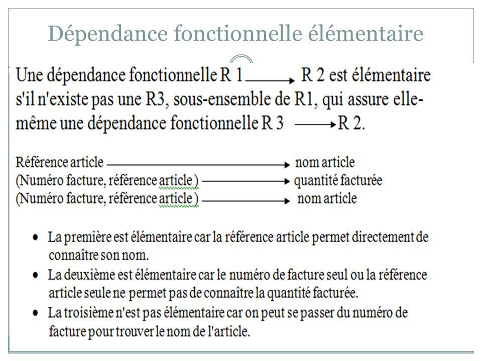 Exemple 1 FOURNISSEUR (Numfr, Nomfr, AdCPfr, Villefr, Telfr) : Cette relation n est pas en première forme normale car l attribut AdCPfr n est pas élémentaire.