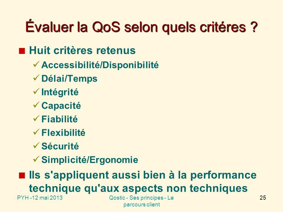 Évaluer la QoS selon quels critéres .