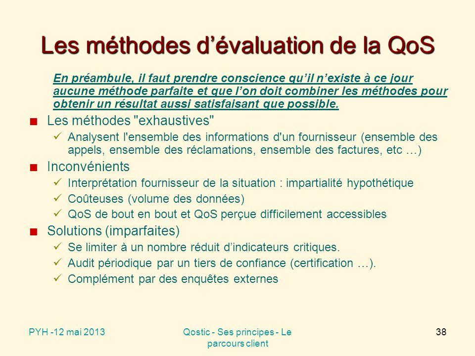 Les méthodes d'évaluation de la QoS En préambule, il faut prendre conscience qu'il n'existe à ce jour aucune méthode parfaite et que l'on doit combiner les méthodes pour obtenir un résultat aussi satisfaisant que possible.