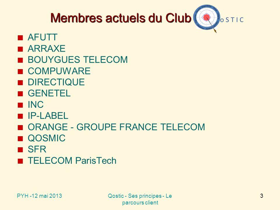 Membres actuels du Club AFUTT ARRAXE BOUYGUES TELECOM COMPUWARE DIRECTIQUE GENETEL INC IP-LABEL ORANGE - GROUPE FRANCE TELECOM QOSMIC SFR TELECOM ParisTech PYH -12 mai 2013Qostic - Ses principes - Le parcours client 3