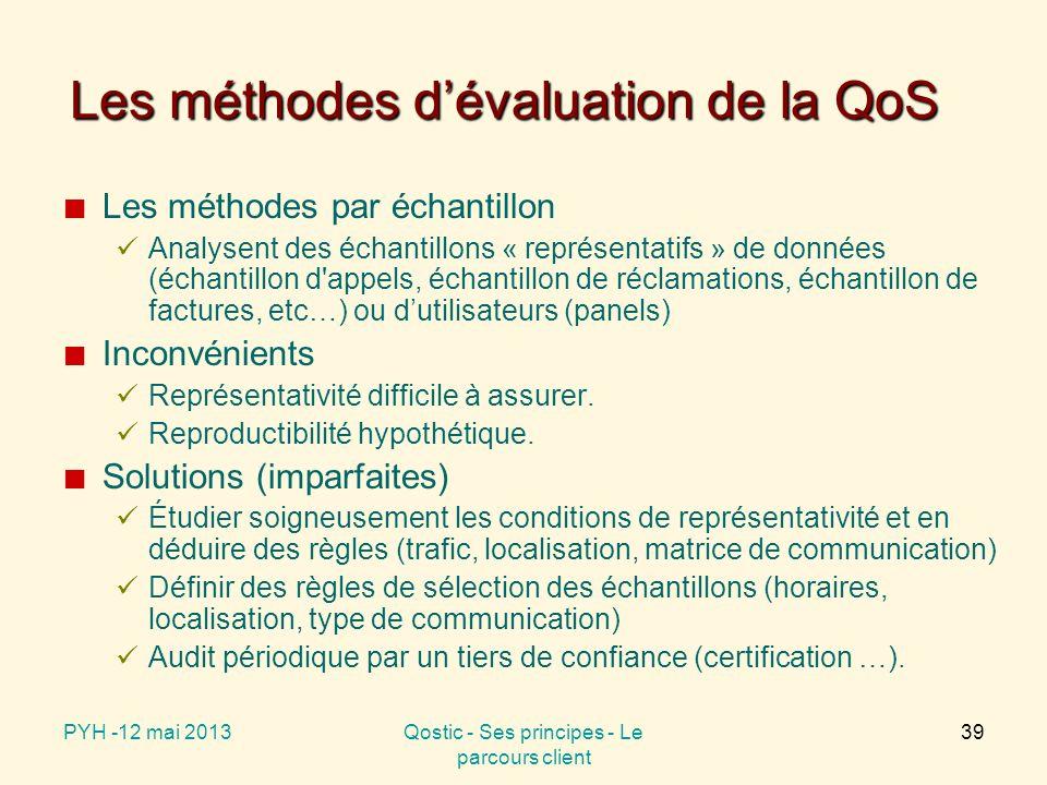 Les méthodes d'évaluation de la QoS Les méthodes par échantillon Analysent des échantillons « représentatifs » de données (échantillon d appels, échantillon de réclamations, échantillon de factures, etc…) ou d'utilisateurs (panels) Inconvénients Représentativité difficile à assurer.