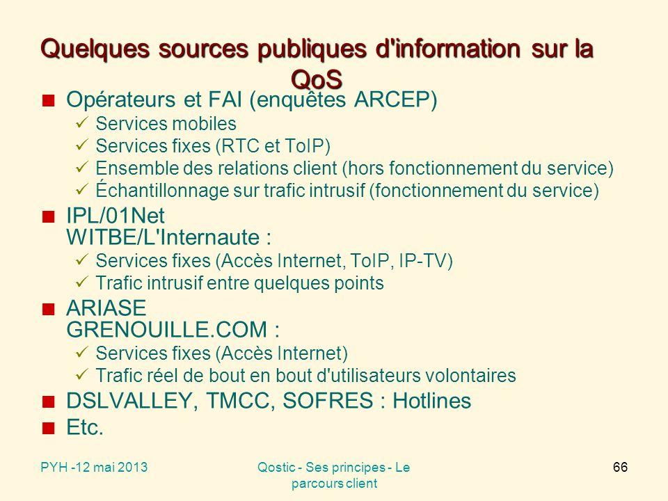 Quelques sources publiques d information sur la QoS Opérateurs et FAI (enquêtes ARCEP) Services mobiles Services fixes (RTC et ToIP) Ensemble des relations client (hors fonctionnement du service) Échantillonnage sur trafic intrusif (fonctionnement du service) IPL/01Net WITBE/L Internaute : Services fixes (Accès Internet, ToIP, IP-TV) Trafic intrusif entre quelques points ARIASE GRENOUILLE.COM : Services fixes (Accès Internet) Trafic réel de bout en bout d utilisateurs volontaires DSLVALLEY, TMCC, SOFRES : Hotlines Etc.