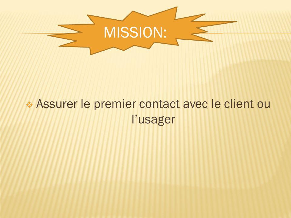  Assurer le premier contact avec le client ou l'usager MISSION: