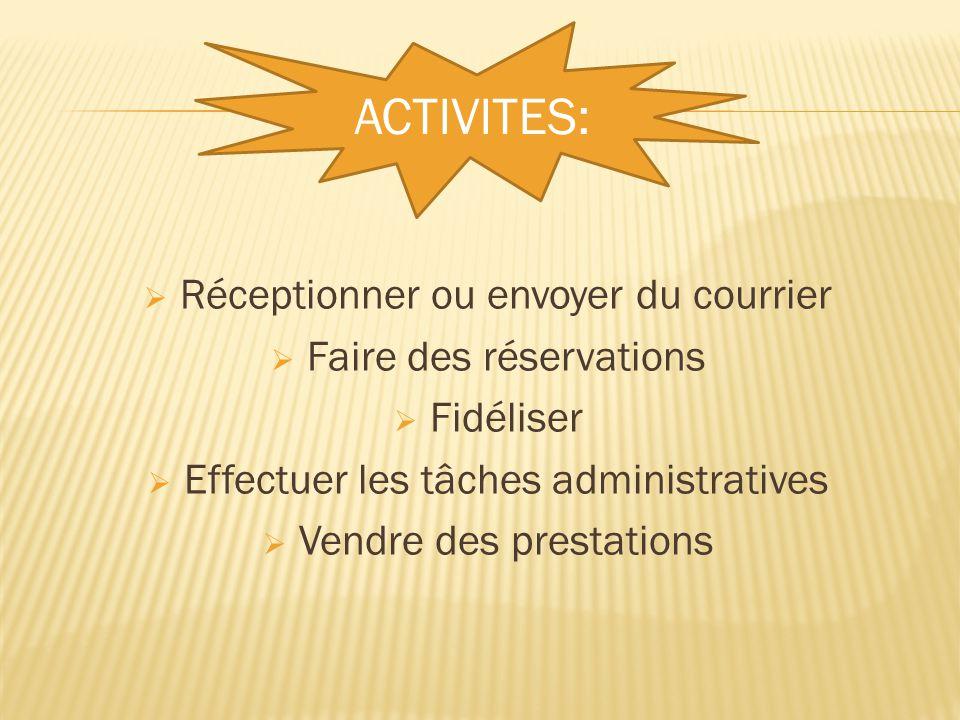  Réceptionner ou envoyer du courrier  Faire des réservations  Fidéliser  Effectuer les tâches administratives  Vendre des prestations ACTIVITES: