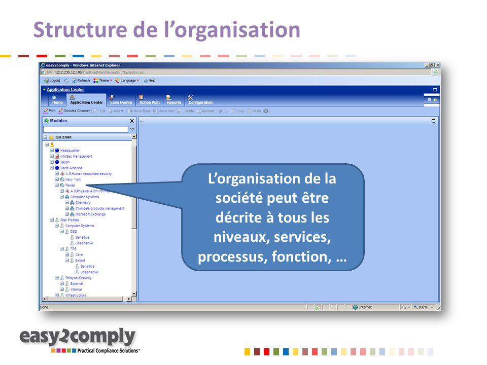 Structure de l'organisation L'organisation de la société peut être décrite à tous les niveaux, services, processus, fonction, …