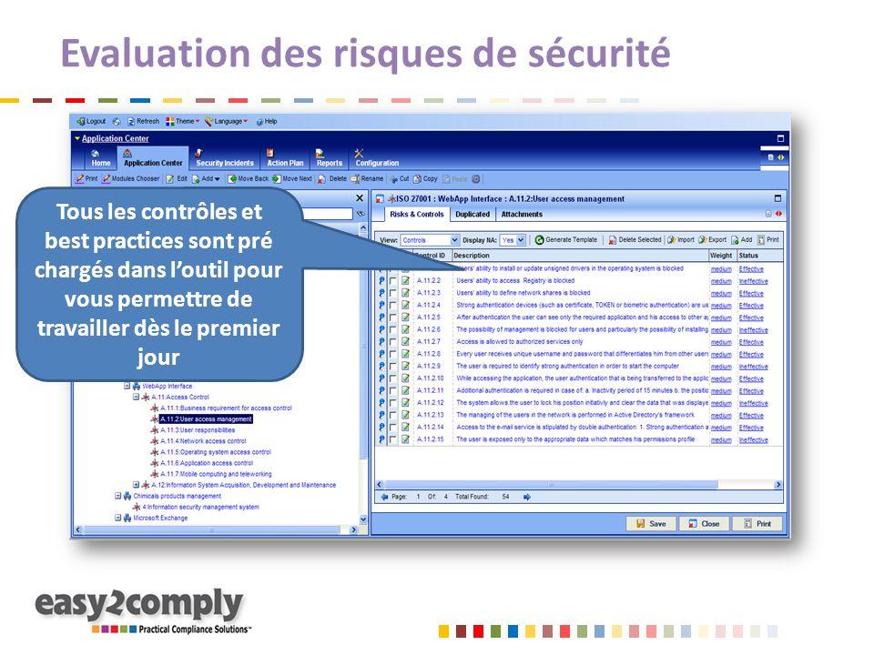 Evaluation des risques de sécurité Tous les contrôles et best practices sont pré chargés dans l'outil pour vous permettre de travailler dès le premier