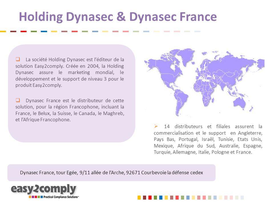 Holding Dynasec & Dynasec France  La société Holding Dynasec est l'éditeur de la solution Easy2comply. Créée en 2004, la Holding Dynasec assure le ma