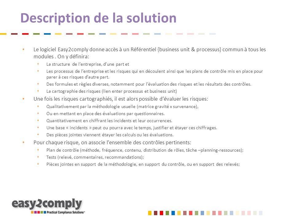 Description de la solution Le logiciel Easy2comply donne accès à un Référentiel {business unit & processus} commun à tous les modules. On y définira: