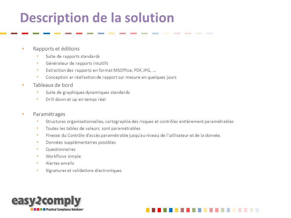 Description de la solution Rapports et éditions Suite de rapports standards Générateur de rapports intuitifs Extraction des rapports en format MSOffic