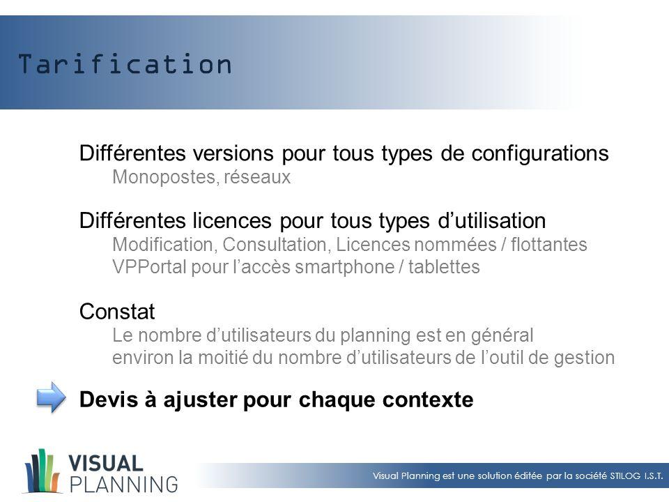 Visual Planning est une solution éditée par la société STILOG I.S.T. Tarification Différentes versions pour tous types de configurations Monopostes, r