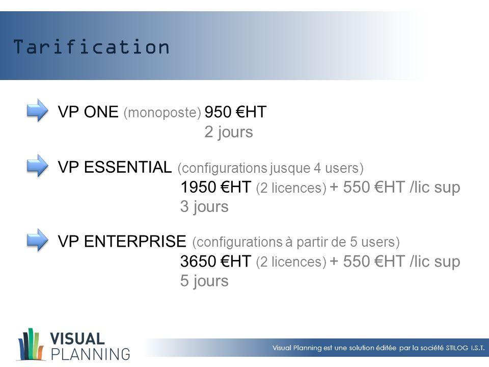 Visual Planning est une solution éditée par la société STILOG I.S.T. Tarification VP ONE (monoposte) 950 €HT 2 jours VP ESSENTIAL (configurations jusq