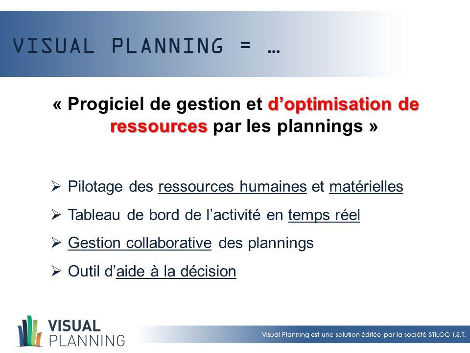 Visual Planning est une solution éditée par la société STILOG I.S.T. VISUAL PLANNING = … « Progiciel de gestion et d dd d'optimisation de ressources p