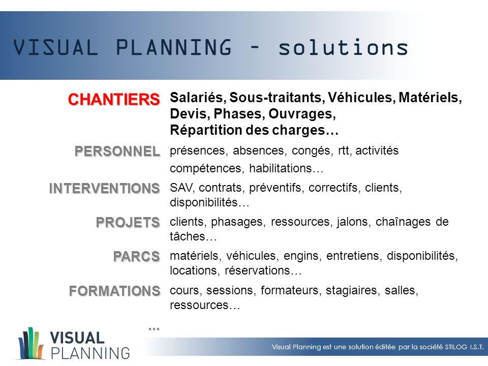 Visual Planning est une solution éditée par la société STILOG I.S.T. VISUAL PLANNING – solutions CHANTIERS Salariés, Sous-traitants, Véhicules, Matéri