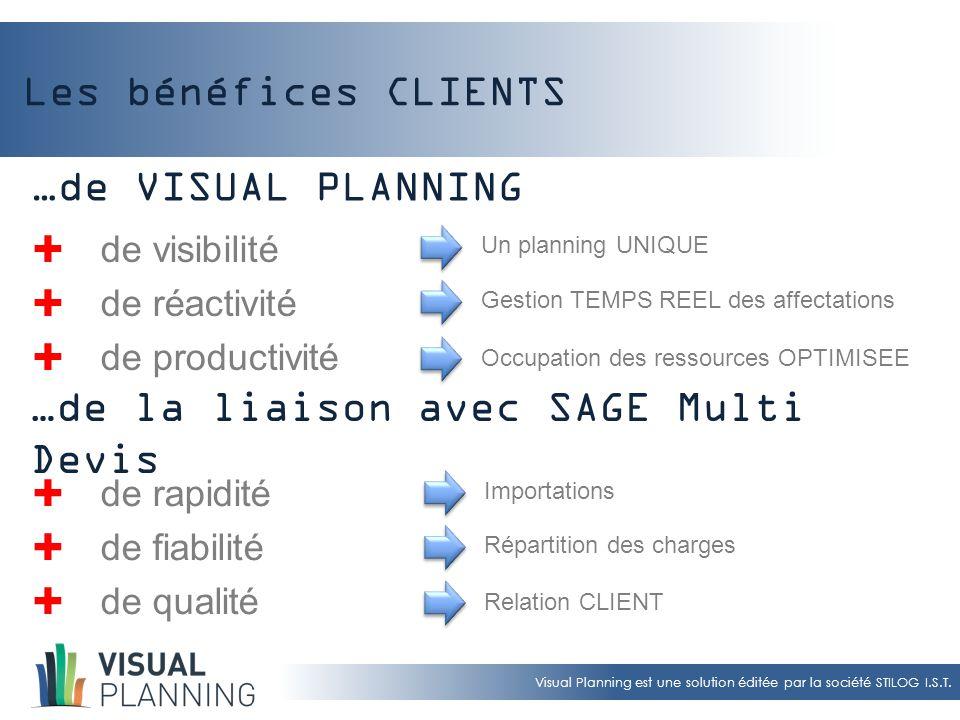 Visual Planning est une solution éditée par la société STILOG I.S.T. Les bénéfices CLIENTS  de visibilité  de réactivité  de productivité Un planni