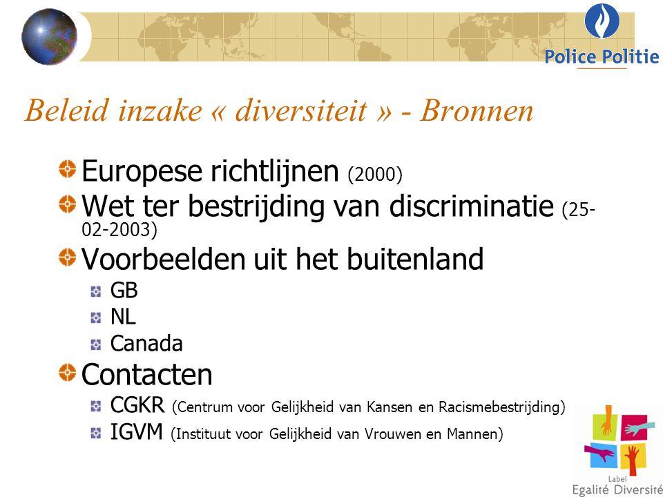 Beleid inzake « diversiteit » - Bronnen Europese richtlijnen (2000) Wet ter bestrijding van discriminatie (25- 02-2003) Voorbeelden uit het buitenland