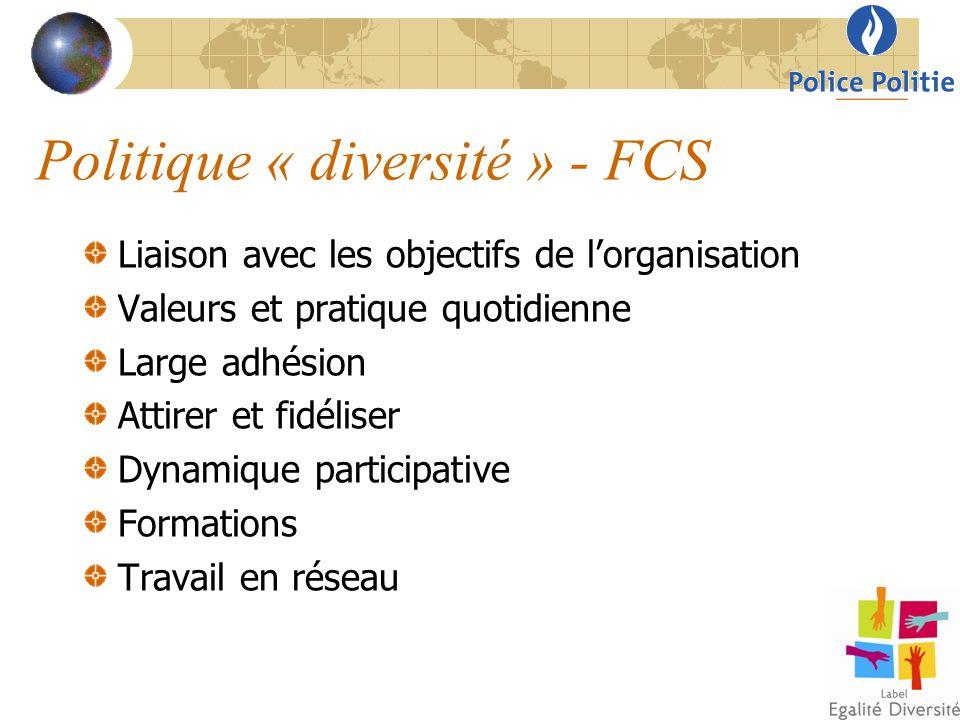 Politique « diversité » - FCS Liaison avec les objectifs de l'organisation Valeurs et pratique quotidienne Large adhésion Attirer et fidéliser Dynamiq