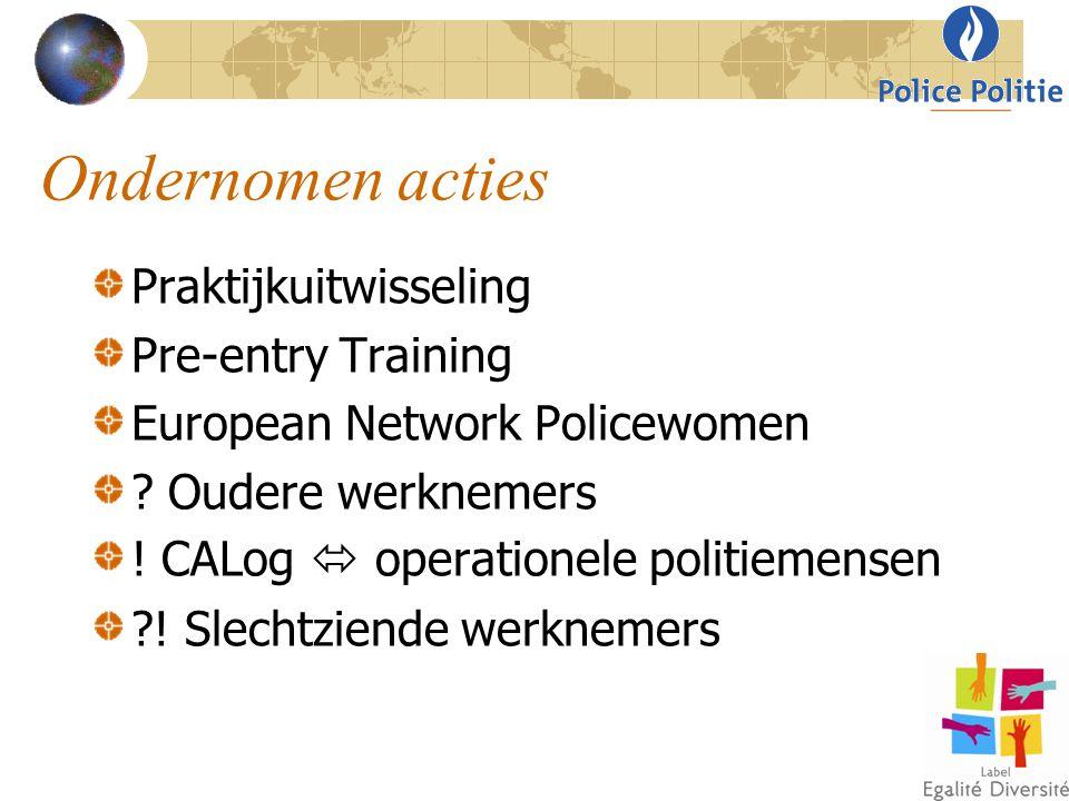 Ondernomen acties Praktijkuitwisseling Pre-entry Training European Network Policewomen ? Oudere werknemers ! CALog  operationele politiemensen ?! Sle