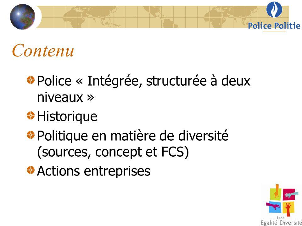 Contenu « Geïntegreerde politie, gestructureerd op twee niveaus » Historiek Beleid inzake diversiteit (bronnen, concept en KSF) Ondernomen acties