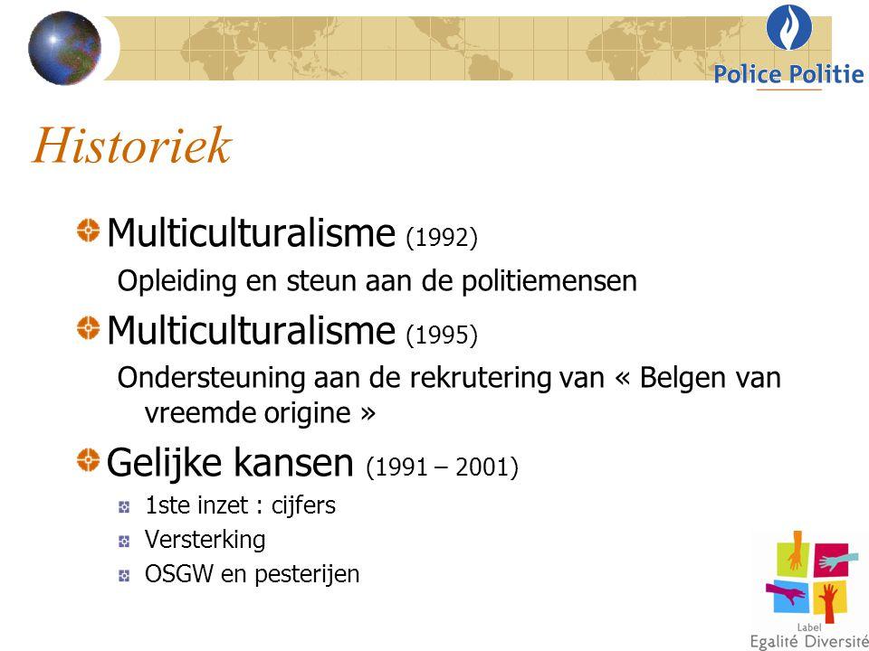 Historiek Multiculturalisme (1992) Opleiding en steun aan de politiemensen Multiculturalisme (1995) Ondersteuning aan de rekrutering van « Belgen van
