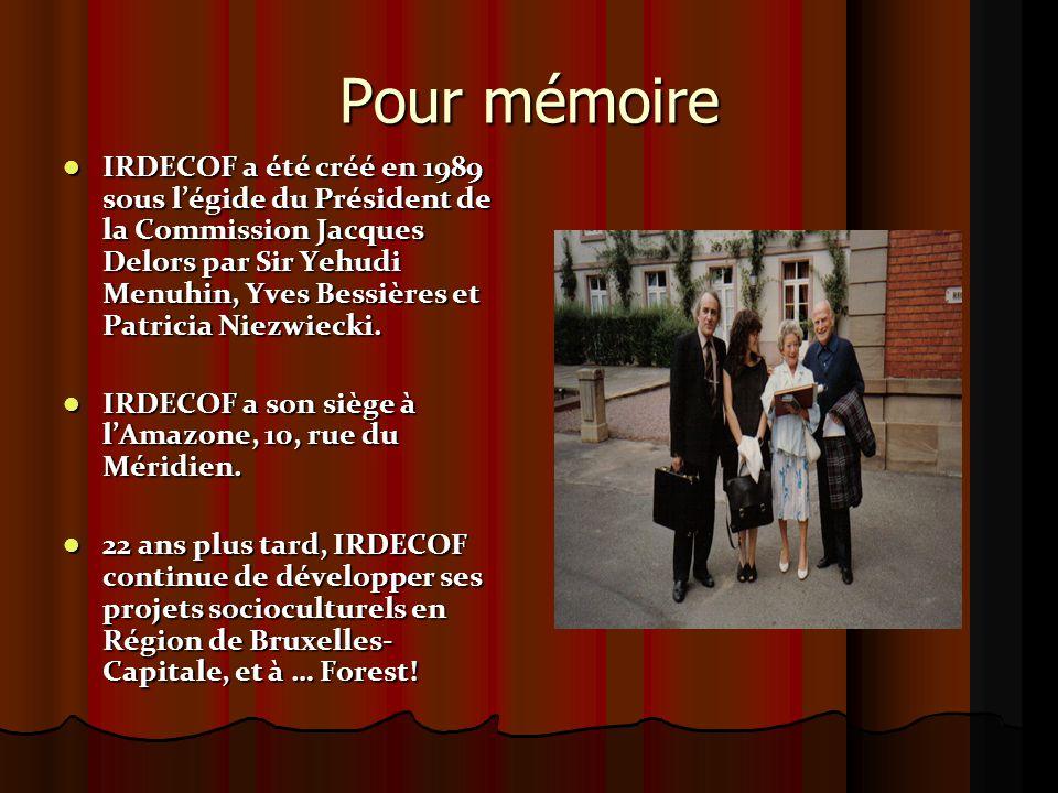 Contact Irdecof Secrétariat / secretariaat & locaux / lokalen :  Boergondiëstraat 89 rue de Bourgogne - 1190 BXL  Rue JB Vanpéstraat 26/2 - 1190 BXL Irdecof  (Amazone), Middaglijnstraat 10 rue du Méridien – 1210 BXL