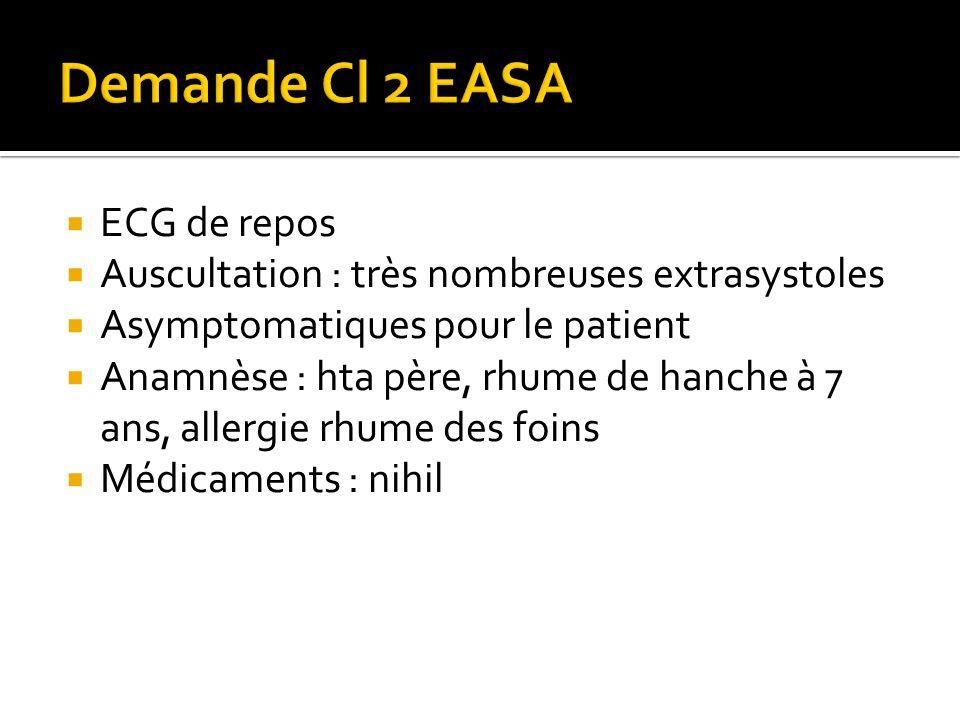  ECG de repos  Auscultation : très nombreuses extrasystoles  Asymptomatiques pour le patient  Anamnèse : hta père, rhume de hanche à 7 ans, allergie rhume des foins  Médicaments : nihil