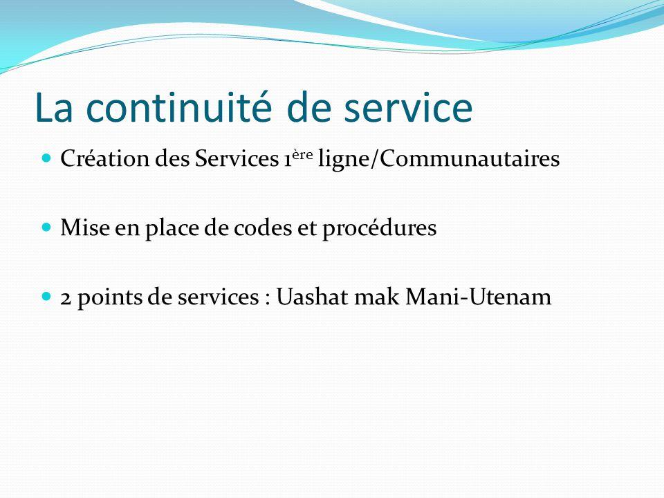 La continuité de service Création des Services 1 ère ligne/Communautaires Mise en place de codes et procédures 2 points de services : Uashat mak Mani-Utenam