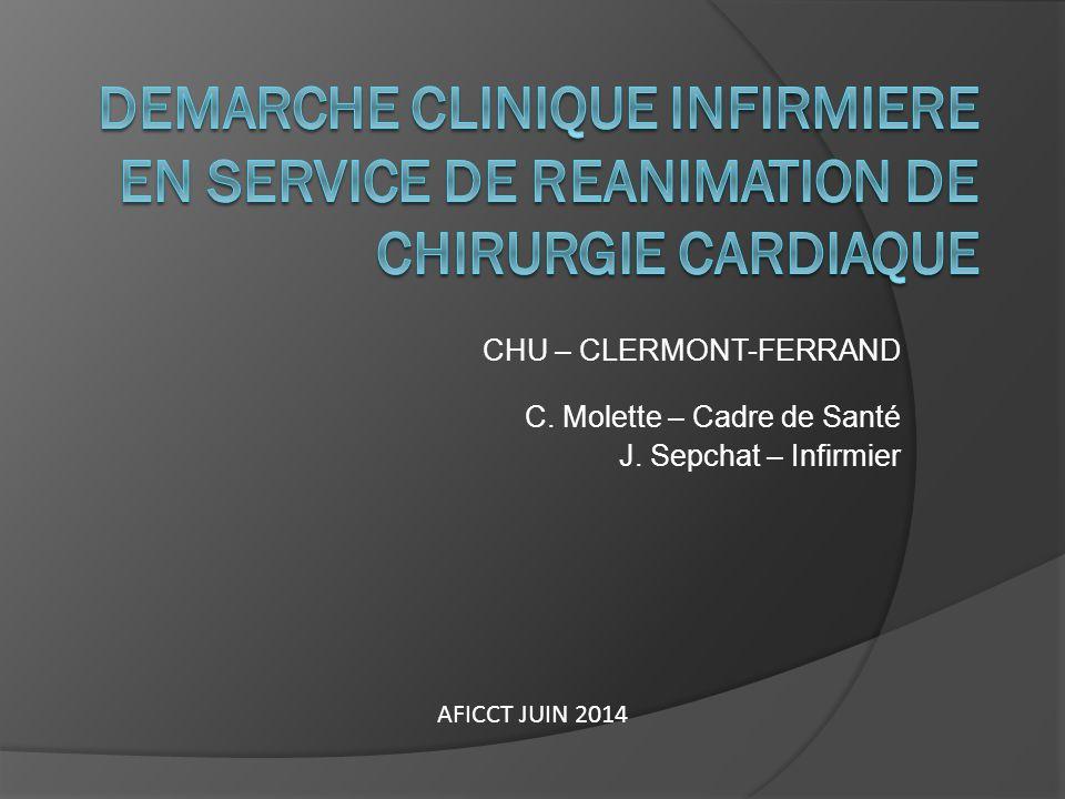 CHU – CLERMONT-FERRAND C. Molette – Cadre de Santé J. Sepchat – Infirmier AFICCT JUIN 2014
