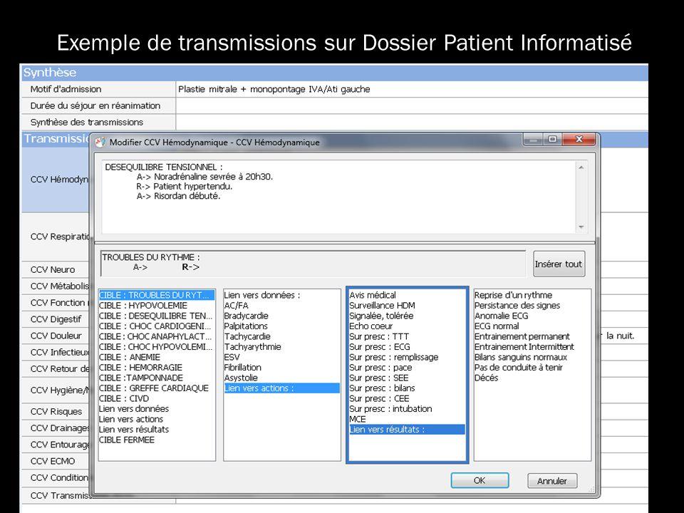 Exemple de transmissions sur Dossier Patient Informatisé