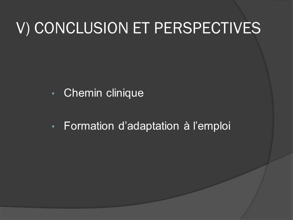 V) CONCLUSION ET PERSPECTIVES Chemin clinique Formation d'adaptation à l'emploi
