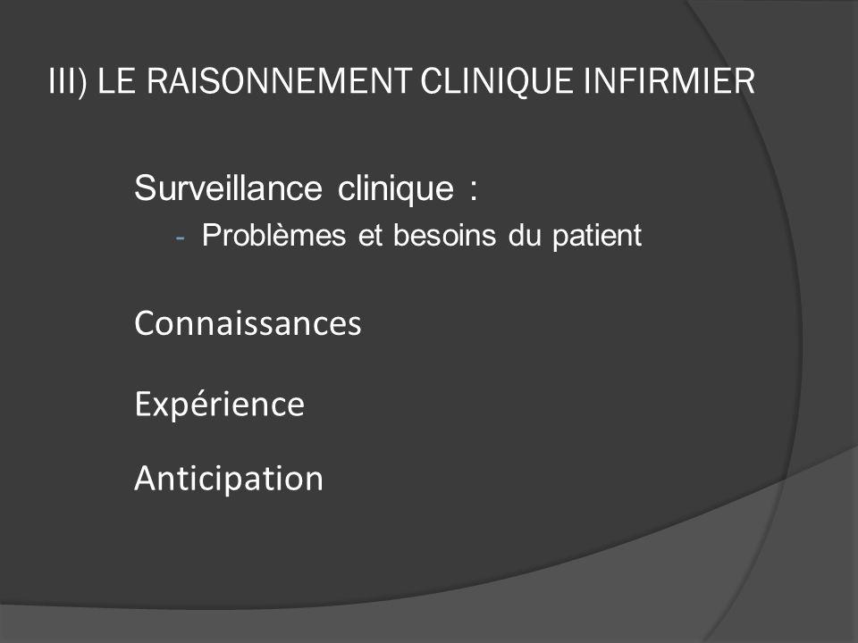 III) LE RAISONNEMENT CLINIQUE INFIRMIER Principaux axes de surveillances : Hémodynamique Respiratoire Neurologique Nutritionnel Etat de la peau Risque de douleur Signes de déséquilibre hydrique Signes de choc (hémorragique, infectieux, …) Surveillance des thérapies médicamenteuses (effets secondaires, signes de toxicités, …) Surveillance de la santé mentale